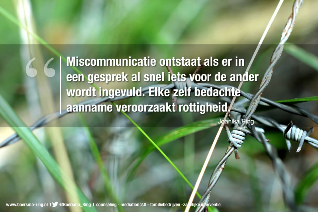 Quote van Joanika Ring over miscommunicatie